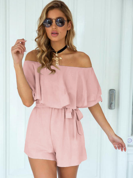 PinkTie Wrap Off Shoulder Romper