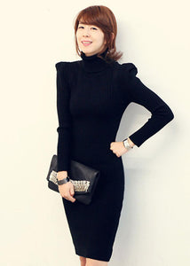 Turtle Neck Long Sleeve Black Sweater Dress