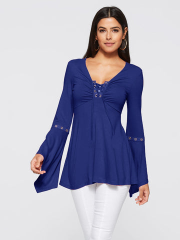 V-Neck Ruffled Flare Sleeve Blouse_Blue