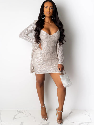 Two Piece Vneck Sequin Dress