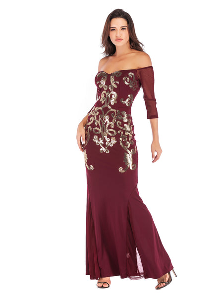 Wine Red Floor Length Fitted Boat Neck Fishtail Evening Dress1
