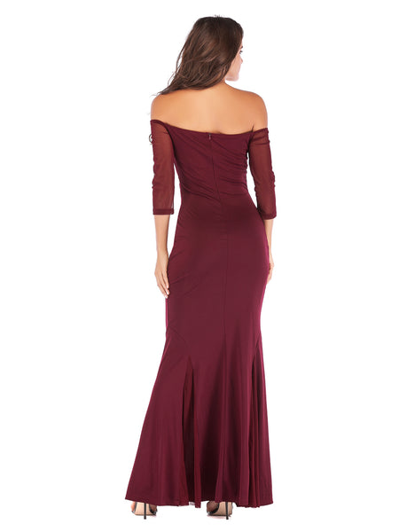 Wine Red Floor Length Fitted Boat Neck Fishtail Evening Dress3