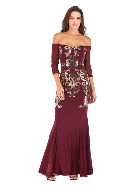 Wine Red Floor Length Fitted Boat Neck Fishtail Evening Dress
