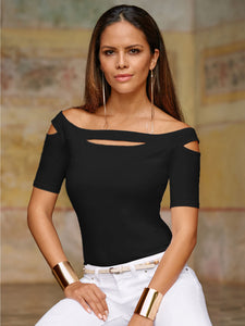 Woman's Hollow Out Top Black