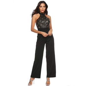 Woman's Sequined Halter Fitted Jumpsuit