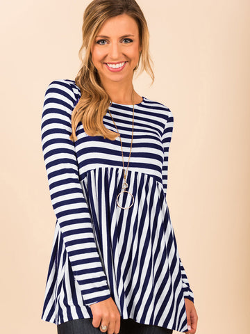 Woman's Striped Long Sleeve Top_Navy Blue