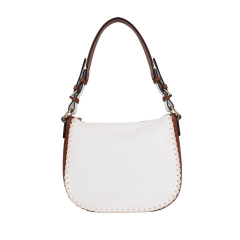 white and brown blanket stitch vegan leather hobo bag