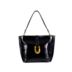 Crinkle Patent Vegan Leather Hobo