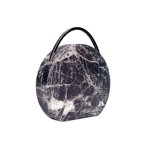 Marble Printed Vegan Leather Clutch with Top Handle