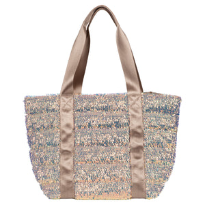 Quilted Sequined Nylon Small Tote