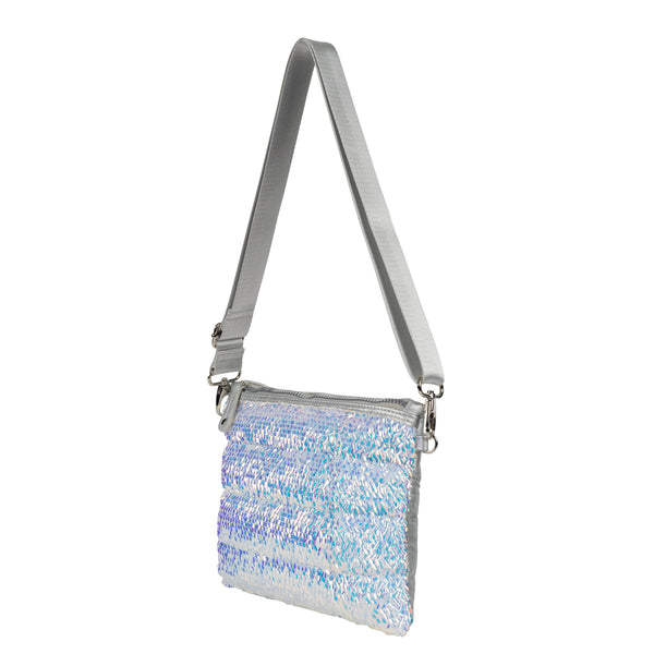 Quilted Sequined Nylon Convertible Crossbody
