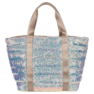 Quilted Sequined Nylon Large Tote
