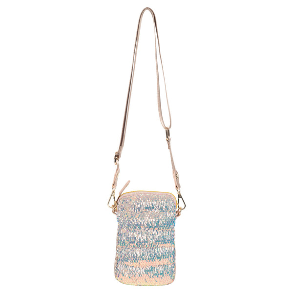 Quilted Sequined Nylon Convertible Cellphone Crossbody