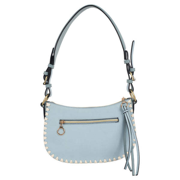blue blanket stitch vegan leather mini hobo bag with front zipper
