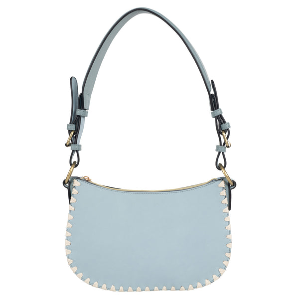 blue blanket stitch vegan leather mini hobo bag