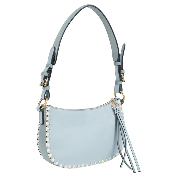 angled blue blanket stitch vegan leather mini hobo bag