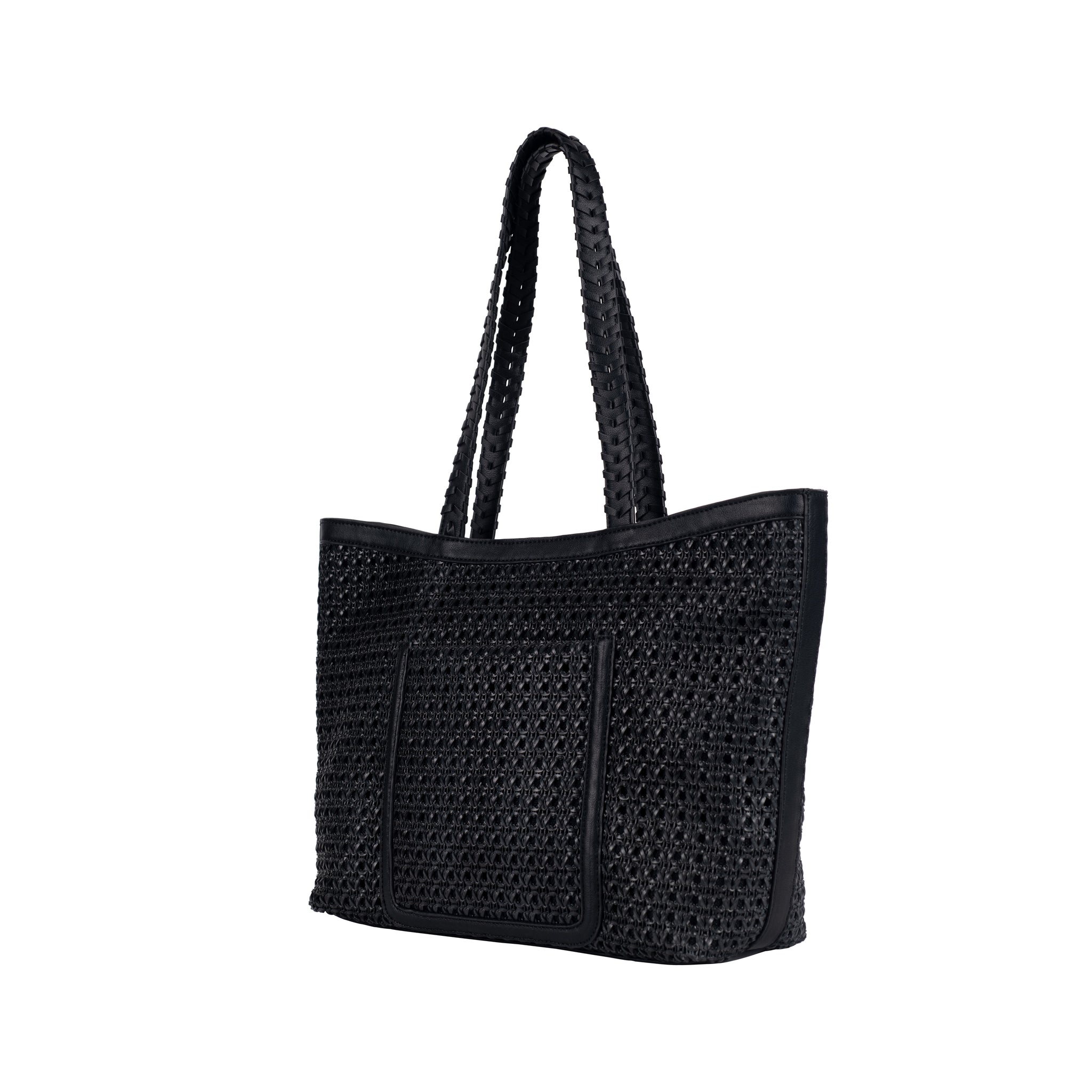 Woven Vegan Leather Tote