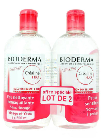Bioderma- Créaline H2O Solution Micellaire 500 ml- Lot de 2