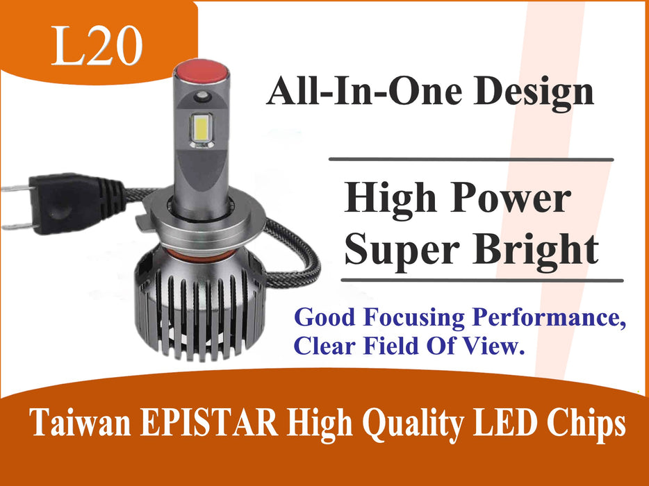 High Power Series LED Headlight Conversion Kits - All-In-One Smallest Designed with 3 Years Warranty - lightingway