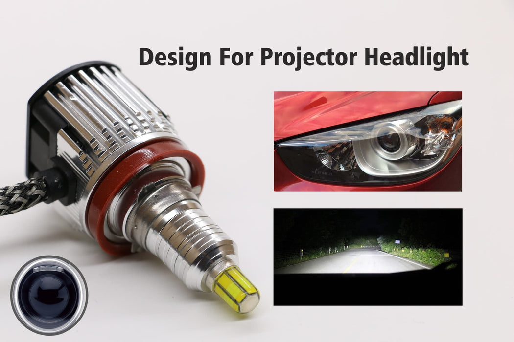 360 Degree Lumens LED Projector Headlight kit with USA BridgeLux Chip 10000LM 6000K Cold Color - lightingway