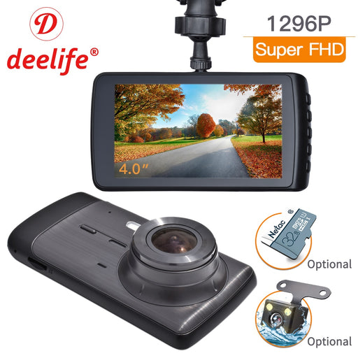 Deelife Dash Cam Car DVR Camera Full HD 1080P Drive Video Recorder Registrator Auto Dashboard 1296P Dual Dashcam Black DVRs Box