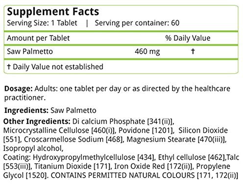 Natures Velvet Lifecare: Saw Palmetto 460mg, 60 Tablets