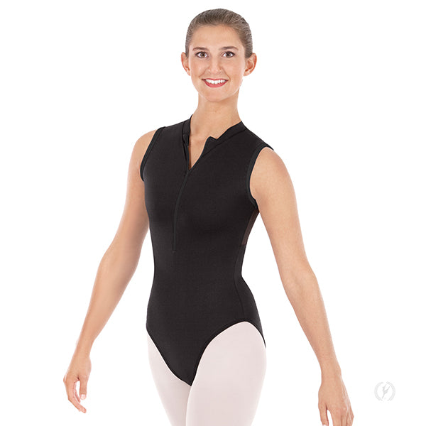 Mesh Back Zipper Front Leotard