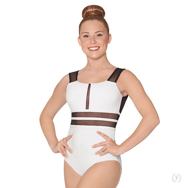 Womens Striped Mesh Leotard