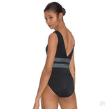 Womens Striped Slate Tank V Back Leotard