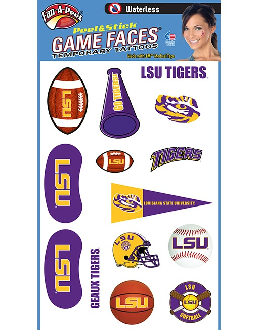 LSU Peel & Stick Temporary Tattoo