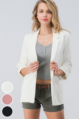 Blazer with Mid Length Button Sleeves