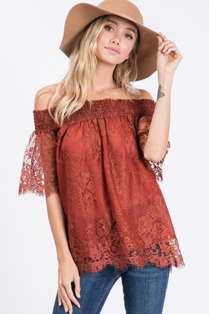 Rust Off the Shoulder Lace Top-ALL SALES FINAL