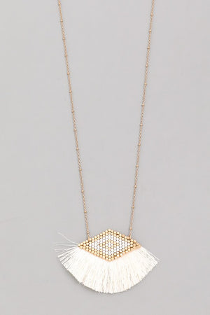 Triangle Tassel Fan Pendant Necklace