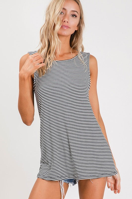 Black Sleeveless Stripe Tunic Top with Cut Out Back