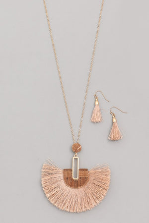 Tassel Fan Charm Necklace Set