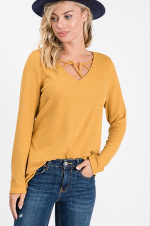 Mustard Long Sleeves Thermal Knit Tunic Top with Crisscross -ALL SALES FINAL