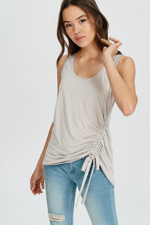 Shell Sleeveless Bamboo Side Gathered Tank Top - ALL SALES FINAL