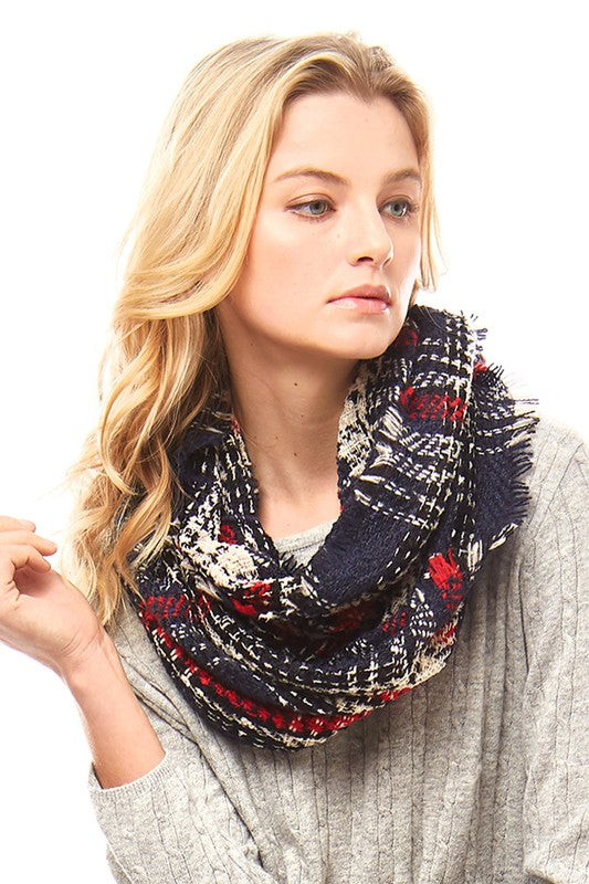 Navy/Red Infinity Scarf