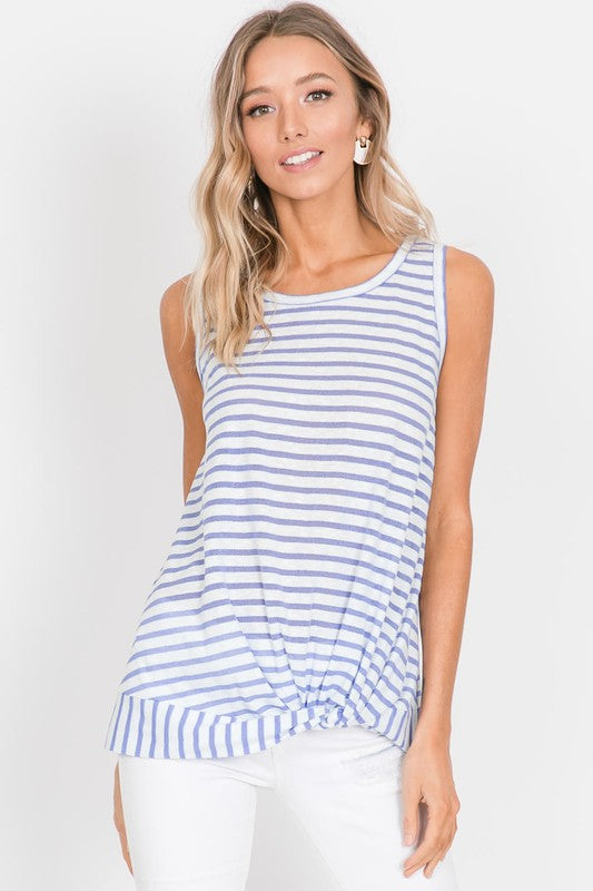 Lilac Casual Sleeveless Top with Stripes