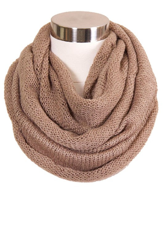 Taupe Solid Knit Infinity Scarf-ALL SALES FINAL