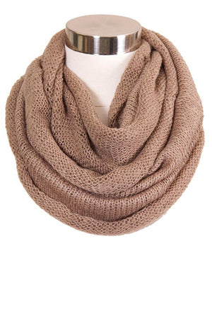 Taupe Solid Knit Infinity Scarf
