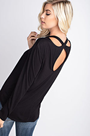 L/S Round Neck Top w Cut Out Neckline Detail on Back