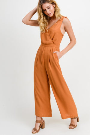 Pumpkin V Neck Wrap Front Jumpsuit w/ Self Tie Straps - ALL SALES FINAL