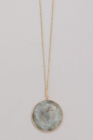 Grey Royal Smooth Stone Pendant Necklace