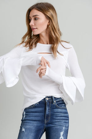 Ivory Front Cut Out Ruffle Sleeve Top
