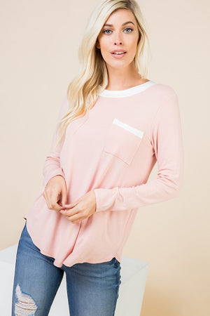 Pink L/S Tie Back Top- ALL SALES FINAL