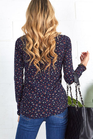 Navy V Neck Print Top with Button Down Detail