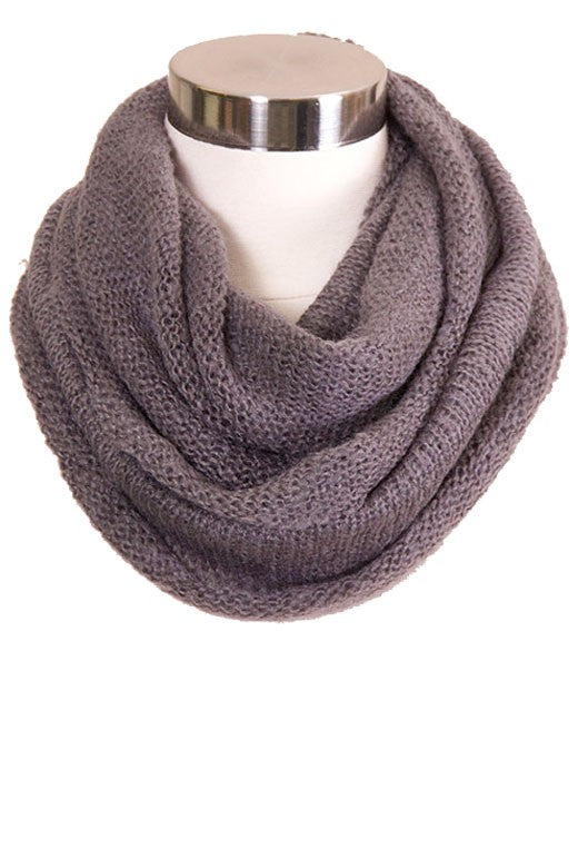 Gray Solid Knit Infinity Scarf