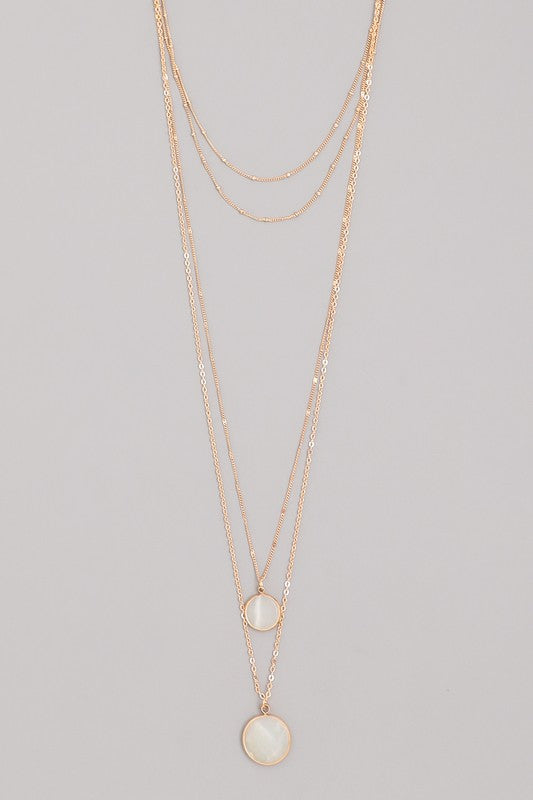 Clear Multi Layered Stone Pendant Necklace