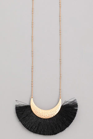 Hammered Crescent Moon Fringe Pendant Necklace-ALL SALES FINAL